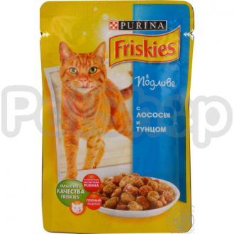 Фрискис Friskies консерва с лососем и тунцом в подливе