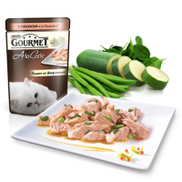 Гурмет а ля карт Gourmet A La Carte Кусочки с лососем, шпинатом, кабачками и зеленым горошком в подливе