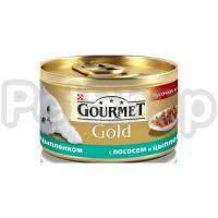 Гурмет голд GOURMET GOLD кусочки в соусе лосось/цыпленок