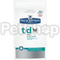 Hill's PD Feline T/D (хиллс корм для котов который помогает поддерживать здоровье ротовой полости)