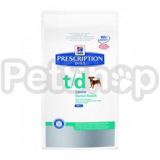 Hill's PD Canine t/d Mini (хиллс корм для собак мелких пород для поддержания гигиены ротовой полости)