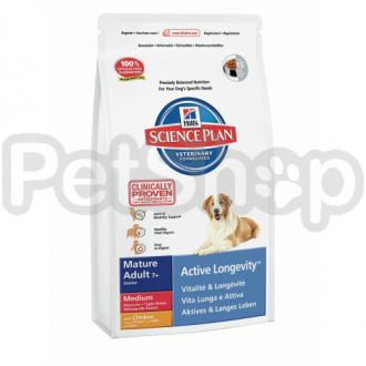 Hill's SP Canine Mature 7+ Active Longevity Medium Chicken  (хиллс корм для собак средних пород старше 7 лет с хондроитином с курицей)