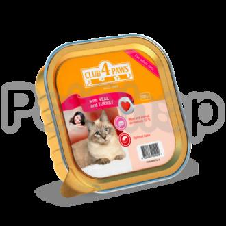 Клуб 4 лапы для котів паштет з телятиною та індичкою