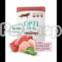OPTIMEAL ™.  Беззерновой полнорационный консервированный корм для взрослых кошек с телятиной, куриным филе и шпинатом в соусе