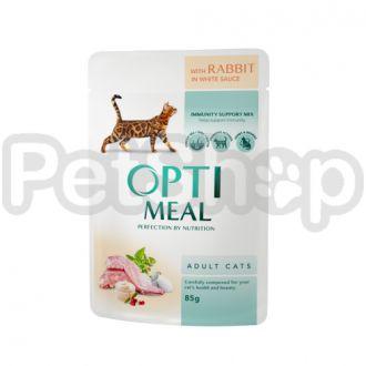 Optimeal консерва для котов кролик в белом соусе