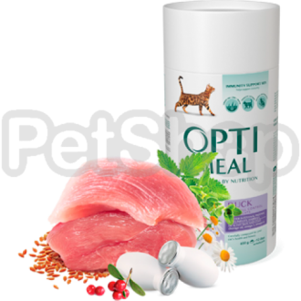 OPTIMEAL™. Полнорационный сухой корм для взрослых кошек с эффектом выведения шерсти -утка