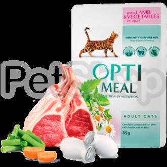 Optimeal консерва для котов ягненок овощи в желе