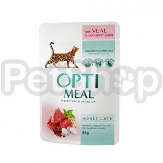 Optimeal консерва для котов телятина с клюквенным соусом