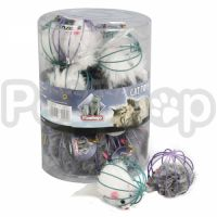 Karlie-Flamingo (Карли Фламинго) WIRE BALL WITH MOUSE игрушка для кошек, пушистая мышка в металлическом шаре, 6см