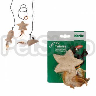 Karlie-Flamingo (Карли-Фламинго) TWINIES WITH FEATHER игрушки для кошек с кошачьей мятой, бежевый текстиль, 10 см