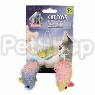 Karlie-Flamingo (Карли-Фламинго) CLOTH MOUSE WITH CATNIP игрушки для кошек, мыши с кошачьей мятой, 2 шт, 5 см