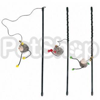 Karlie-Flamingo (Карли-Фламинго) ROD WITH MOUSE игрушка для кошек, удочка дразнилка с мышкой, 47см