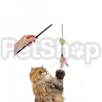 Karlie-Flamingo BALL&FEATHERS шар-перья удочка дразнилка игрушка для котов