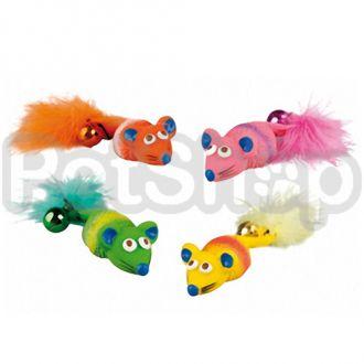 Karlie-Flamingo (Карли-Фламинго) MOUSE FEATHER&BELL игрушка для кошек, мышка с перышком и колокольчиком, латекс, 12х4х2см