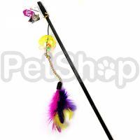 Flamingo Ball&Feathers ФЛАМИНГО игрушка дразнилка для кошек, удочка с мячом и перьями, 50 см