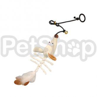 Karlie-Flamingo (Карли-Фламинго) SKELETON MOUSE игрушка для кошек с кошачьей мятой, подвесная мышь, плюш,20х9х5см