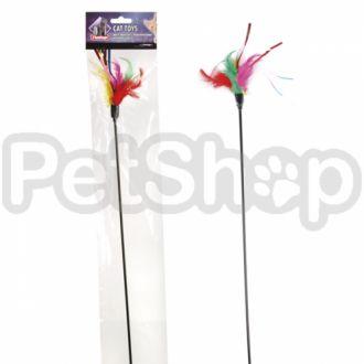 Karlie-Flamingo (Карли-Фламинго) TEASER FEATHERS игрушки для кошек, дразнилка с цветными перьями, 48см