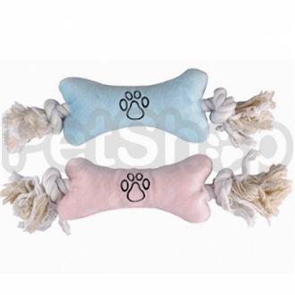 Karlie-Flamingo (Карли-Фламинго) PUPPY PLUSH BONE мягкая игрушка для щенков в виде косточки с веревочными ручками