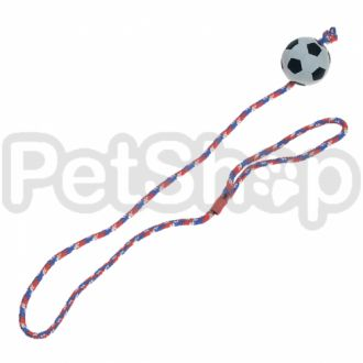 Karlie-Flamingo (Карли-Фламинго) SPONGE BALL WITH ROPE игрушка для собак, резиновый мяч спонжбол на веревке