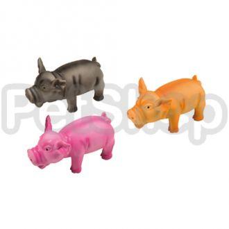 Karlie-Flamingo (Карли-Фламинго) SWINE игрушка для собак, поросенок хрюкающий, черный, розовый, желтый, латекс
