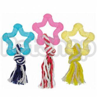Karlie-Flamingo (Карли-Фламинго) GOOD4FUN STAR WITH ROPE звезда игрушка для собак с веревкой, латекс