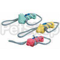 Karlie-Flamingo (Карли-Фламинго) ANIMAL FARM игрушка для собак зверек с веревкой, резина