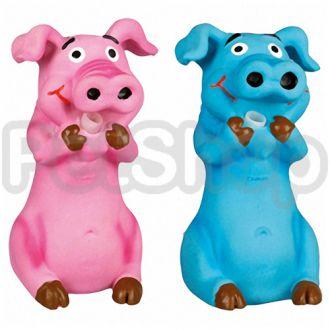 Karlie-Flamingo (Карли-Фламинго) PIG EDDY игрушка для собак, поросенок эдди хрюкающий, латекс, розовый, синий