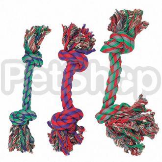 Karlie-Flamingo (Карли-Фламинго) COTTON KNOT MINI игрушка для собак веревочная кость, 2 узла, маленькая