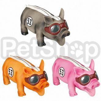 Karlie-Flamingo (Карли-Фламинго) RACEPIG игрушка для собак, гоночный поросенок реалистично хрюкающий, латекс