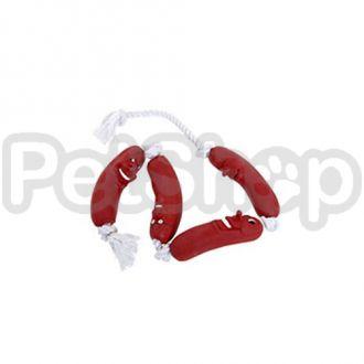 Karlie-Flamingo SAUSAGE ON ROPE 72CM сосиска на веревке игрушка для собак, латекс