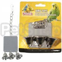 Karlie-Flamingo (Карли-Фламинго) MIRROR+3 BELLS игрушка для попугаев, квадратное зеркало с тремя колокольчиками