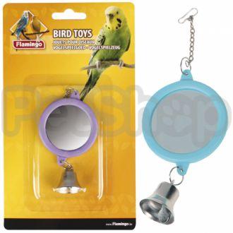 Karlie-Flamingo (Карли-Фламинго) MIRROR ROUND+BELL игрушка для попугаев круглое зеркало с колокольчиком