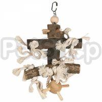 Flamingo Cage Hanger Wood With Pinball ФЛАМИНГО ДЕРЕВЯННЫЙ ПОДВЕС с пинболом, игрушка для птиц