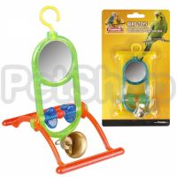 Karlie-Flamingo (Карли-Фламинго) MIRROR+BELL игрушка для попугаев зеркало с колокольчиком и жердочкой