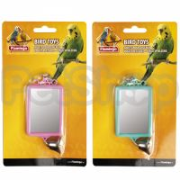 Karlie-Flamingo (Карли-Фламинго) MIRROR STRAIGHT+BELL игрушка для попугаев квадратное зеркало с колокольчиком