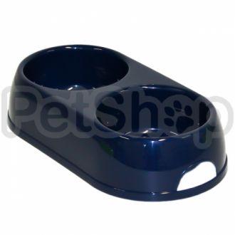 Moderna ЭКО миска пластиковая для собак и котов, двойная, 2Х570 мл, d-12 см