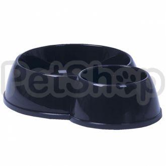 Moderna ЭКО двойная миска пластиковая для котов, 170-450 мл, d-8-12 см