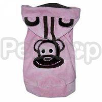 MonkeyDaze ВЕЛЮР (velour pink hoodie) розовая кенгурушка, одежда для собак