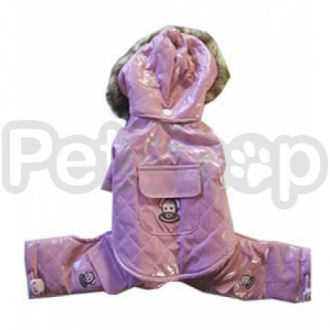 MonkeyDaze ВИНИЛ (Pink Vinyl Jumper) розовый комбинезон с капюшоном, одежда для собак