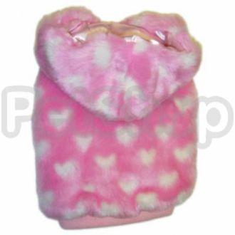 MonkeyDaze РОЗОВОЕ СЕРДЦЕ (Pink Heart Faux Fur) шубка с капюшоном, одежда для собак
