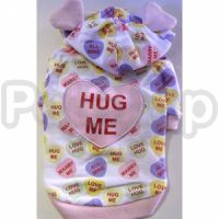 MonkeyDaze ПОТИСКАЙ МЕНЯ (Valentine pink) розовая кенгурушка с ушками, одежда для собак