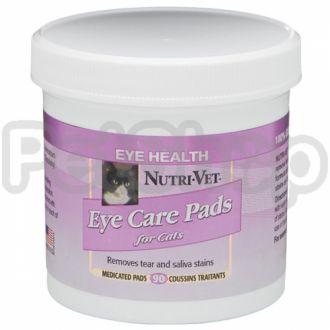 Nutri-Vet Tear Stain Removal cat НУТРИ-ВЕТ ОЧИСТКА ПЯТЕН влажные салфетки для кошек, от пятен под глазами, вокруг пасти и на лапах, 90 шт.