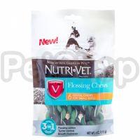 Nutri-Vet ФЛОСС ЛАКОМСТВО (Flossing Chews 3in1) жевательное лакомство с зубной нитью для собак малых пород, 6 шт.