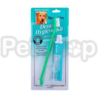 Nutri-Vet Oral Hygiene Kit НУТРИ-ВЕТ НАБОР ДЛЯ ГИГИЕНЫ ПАСТИ для собак, в комплекте - энзимная зубная паста, двусторонняя зубная щетка и зубная щетка на палец