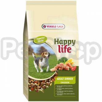 Happy Life ВЗРОСЛЫЙ с курицей (Adult Dinner Chicken) сухой премиум корм для собак