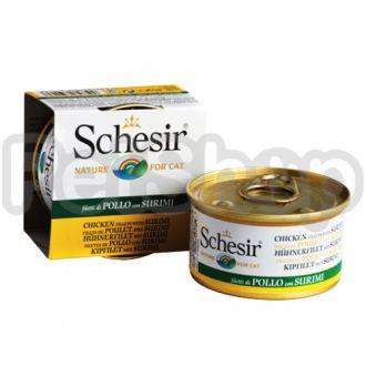 Schesir ФИЛЕ КУРИЦЫ С СУРИМИ (Chicken Surimi) влажный корм консервы для кошек, банка
