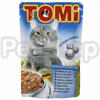 TOMi ЛОСОСЬ ФОРЕЛЬ (salmon, trout) консервы корм для кошек, пауч