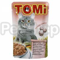 TOMi МЯСО ИНДЕЙКА (veal, turkey) консерва корм для кошек, пауч