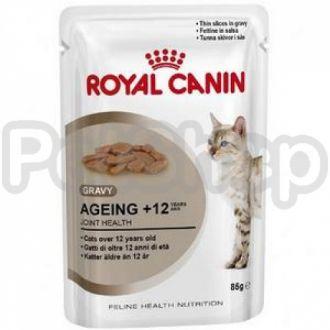 Royal Canin AGEING+12 in gravy (роял канин айджен 12 Измельченные кусочки в соусе для кошек старше 12 лет )