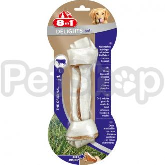 8in1 Europe Delights Bones Beef L ( Жевательная кость с гровяжьим мясом внутри, содержит единственный источник протеина  (гровядину))
